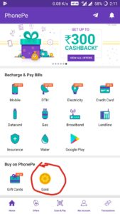how to transfer phonepe gold cashback amount to bank